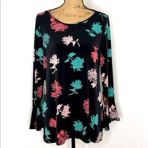 Chaus New York Long Sleeve Blouse-Size L-Floral